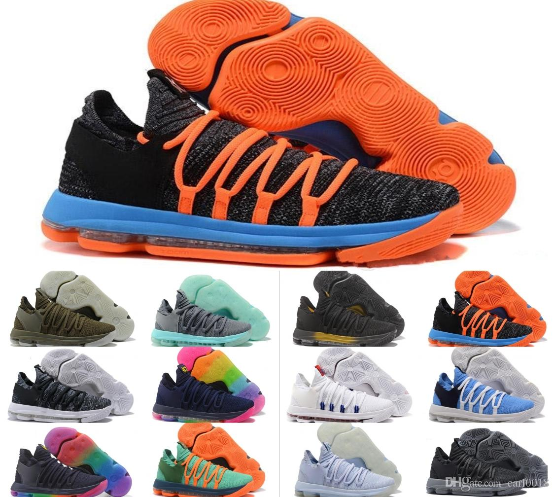 fb1a5aa6d923 2019 2018 New KD 10 Anniversary PE BHM Red Oreo Triple Black Men Basketball  Shoes KD 10 Elite Low Kevin Durant Athletic Sport Sneakers From Carl0018