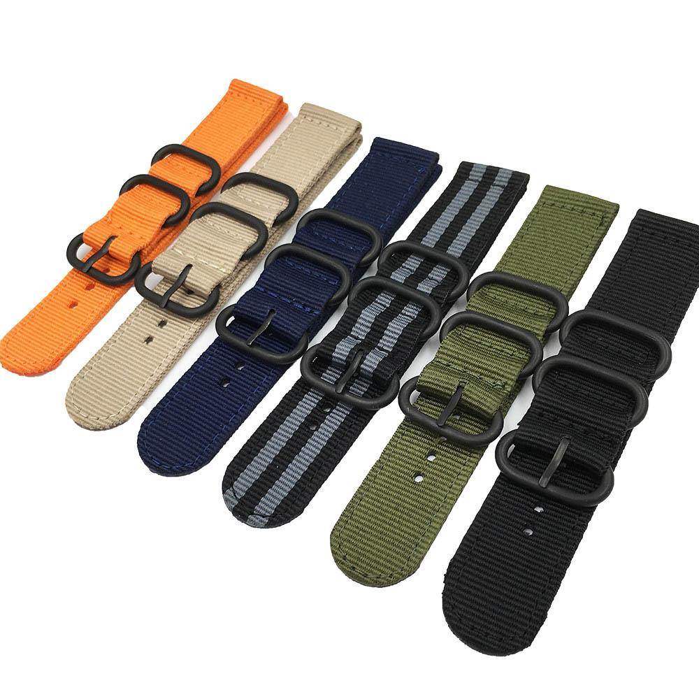 7 Colors NATO Watchband Nylon Strap Black Ring Buckle 18mm 20mm 22mm 24mm Striped Replacement Band Watch Accessories
