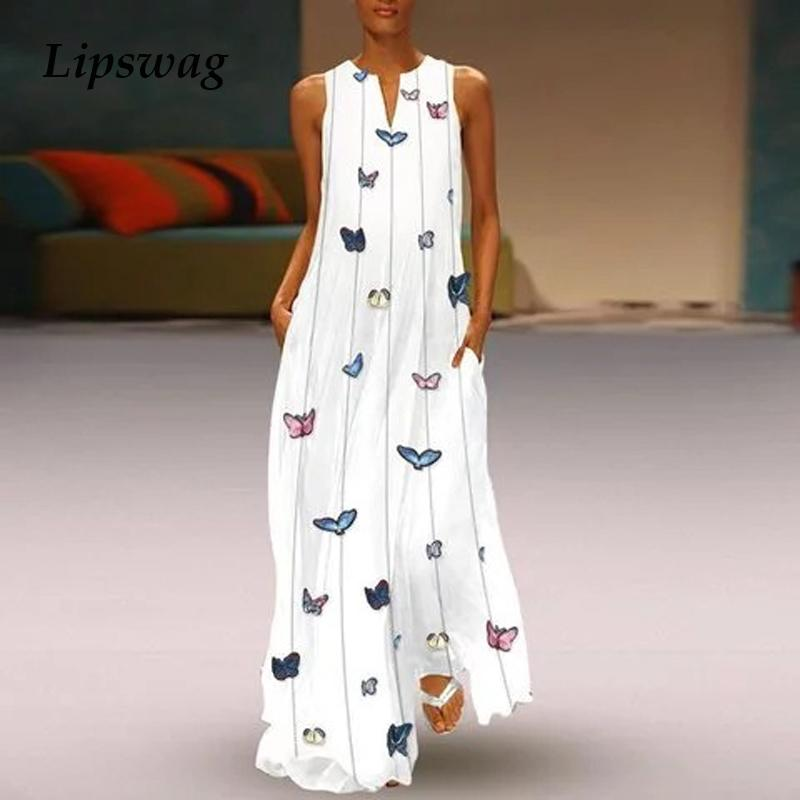 Lipswag Sexy V Neck Women Vintage Butterfly Print Dress 2019 Summer Sleeveless Pockets Dress Casual Loose Boho Maxi Long Dresses J190710