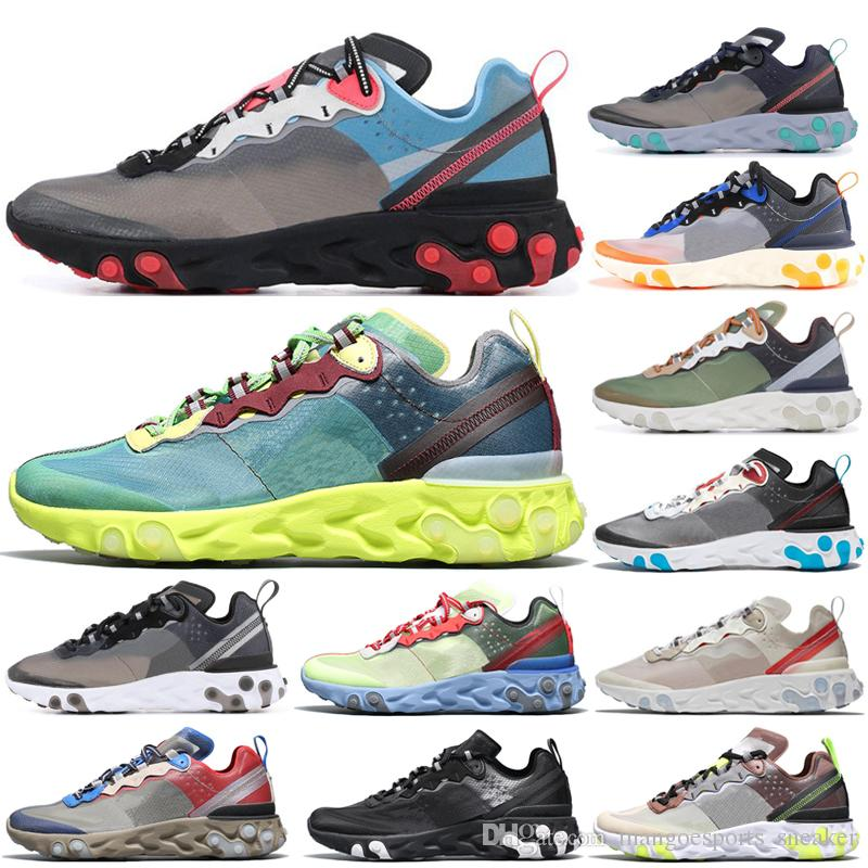 dab7dcf1a0a3 2019 New Epic React Element 87 Undercover Men Running Shoes Sail Light Bone  Blue Chill Solar Anthracite Black Women Designer Sports Sneakers Canada 2019  ...
