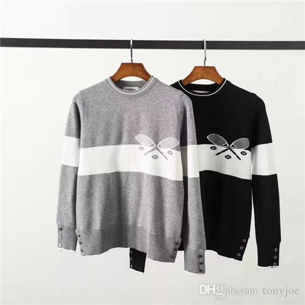 68659736a84b 18AW Luxury Brand Thom TB Wool Browne Knitwear Knitted Sweater Sweatshirts Woolen  Sweaters Shirt Jumper Streetwear Outdoor Hoodies Coat Online with ...