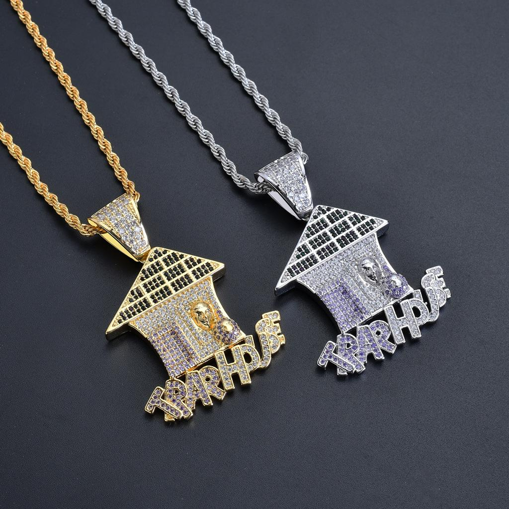 Wholesale New Hip Hop Fashion Hip Hop Necklace House Shape AAA Zircon  Material Hiphop Pendant Necklace Stainless Steel Chain Jewelry Wholesale  Aquamarine ... 625210df7ad3