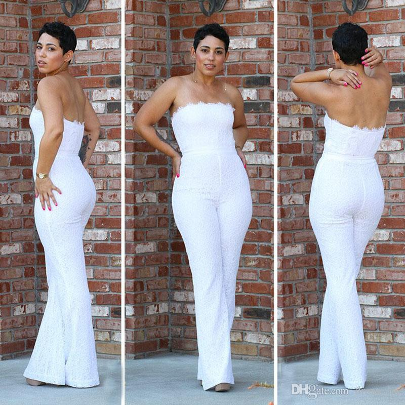 e6ff39fd252 2018 Formal Women Pant Suits For Wedding Ivory Lace Strapless Fitted Bodice  Column Pants White Lace Sexy Jumpsuits And Rompers Vintage Lace Wedding  Gowns ...