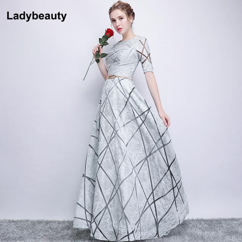 5157d4aaecbb 2019 Robe De Soiree Half Sleeves White Long Evening Dresses 2018 ...