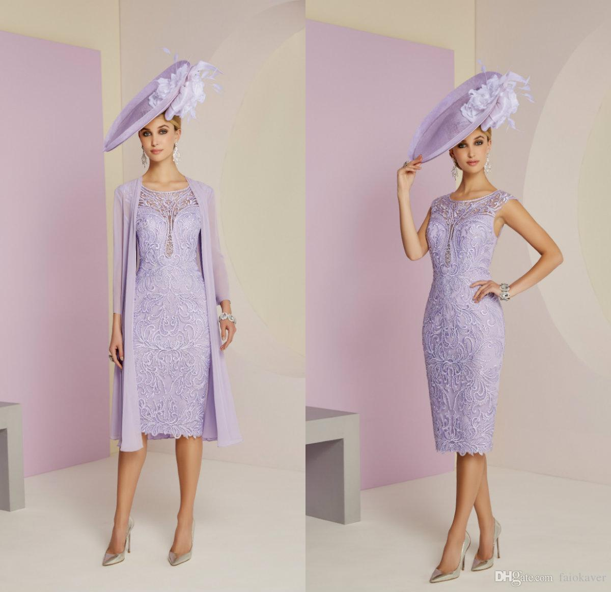 538d6a558e6 2019 Lavender Mother Of The Bride Dresses With Long Jacket Jewel Neck  Chiffon Evening Gowns Under Knee Length A Line Wedding Guest Dress Mother  Of The Bride ...