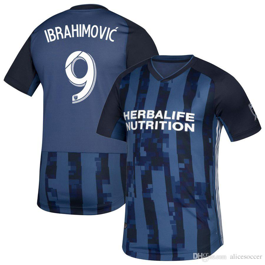 26c9be559 2019     2019 Galaxy Soccer Jerseys Away Blue Custom Name Number Gerrard 8  Football Shirts Cothing AAA Quality Ibrahimovic 9 GIOVANI 10 From  Alicesoccer