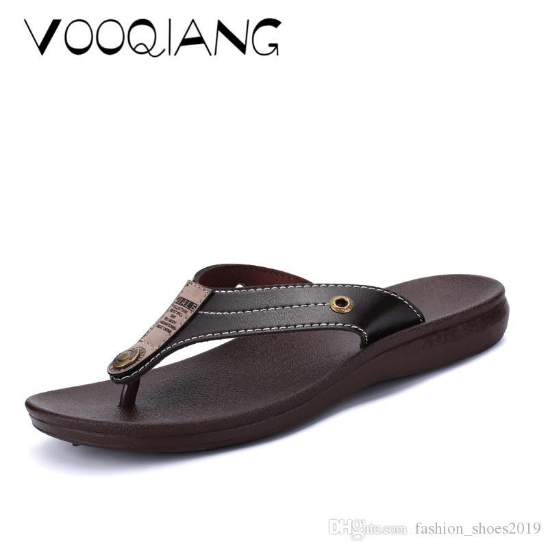 c2bdacb3967c VOOQIANG Brand Genuine Leather Shoes Summer New Large Size Men S Sandals  Men Sandals Flip Flops Slippers Big Size 38 45  56862 Pink Shoes Salt Water  Sandals ...