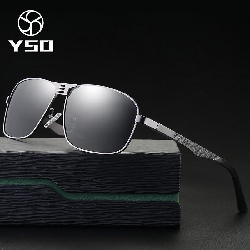 0f23191fc4b YSO Men Sunglasses Vintage Polarized UV400 Aluminium Frame TAC Lens ...