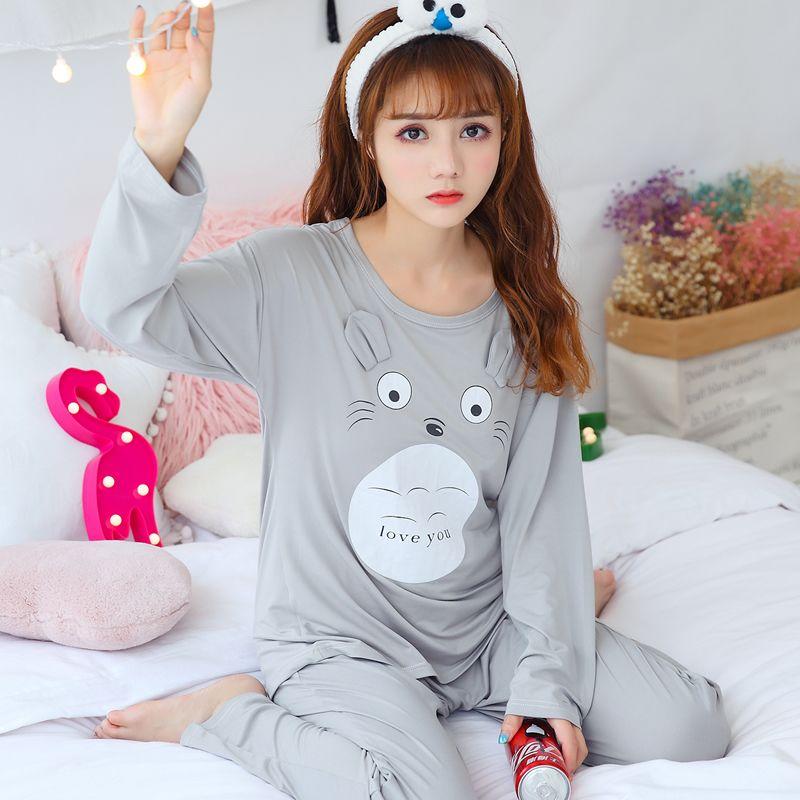 90976ce71e Compre Primavera Otoño Conjuntos De Pijamas De Algodón Para Las Mujeres De  Manga Larga Pijama Niñas De Dibujos Animados Lindos Totoro Ropa De Dormir  Pijama ...