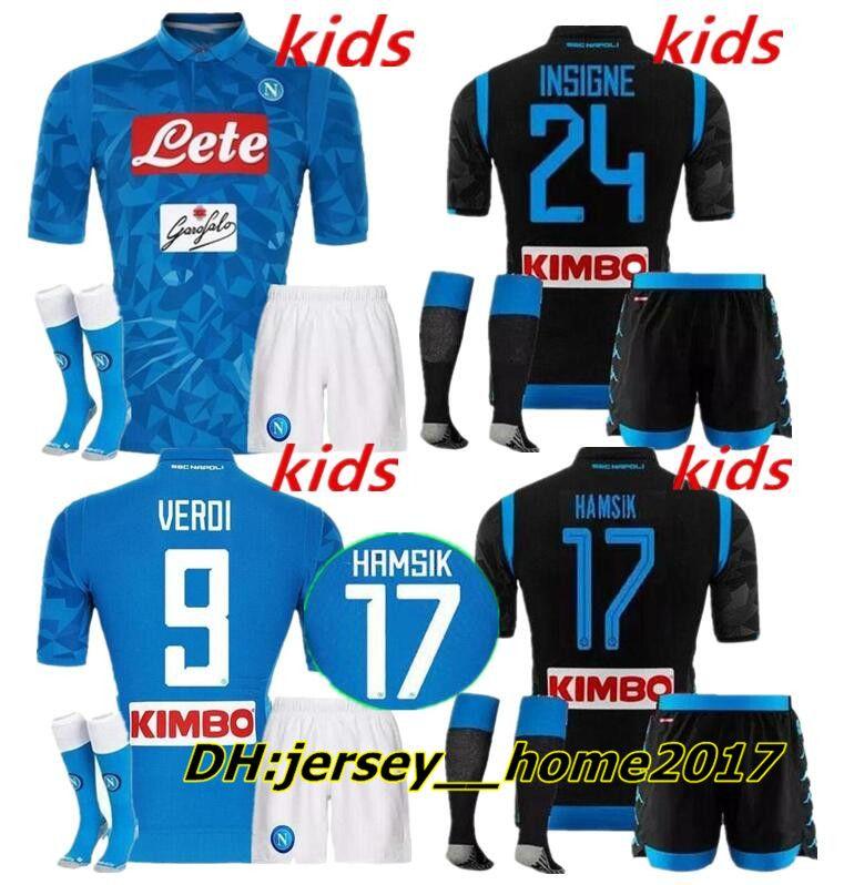 2b17853327ff9 2019 18 19 SSC Napoli Soccer Jersey Kits KIDS HAMSIK GABBIADINI MERTENS  MILIK L.INSIGNE CALLEJON Allan Zielinski Naples BOYS Child Black AWAY From  ...