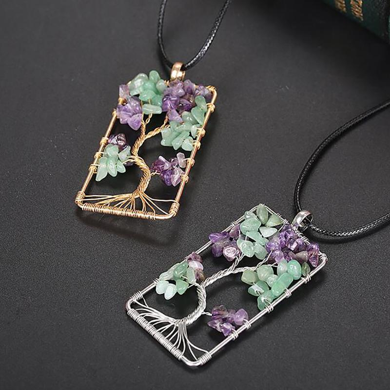 Natural Gem Stone Gravel Beads Tree Of Life Winding Reiki Pendulum Pendant Charms Energy Health Amulet Numen necklace life tree