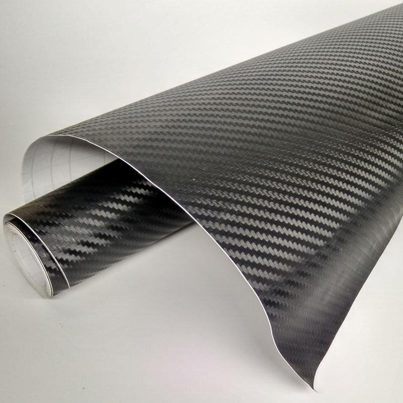127X30CM 3D Carbon Fiber Car Stickers Vinyl Car DIY Wrap Sheet Roll Film  Sticker Decal Black Color Option Sticker 3D #BILL