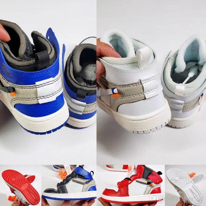 détaillant en ligne 5f920 b6e2f Nike Air Jordan 1 Taille 28-35 enfants Original marque designer chaussures  de baskets j1 1s 1 haute chaussures de basket-ball blanc noir rouge bleu ...