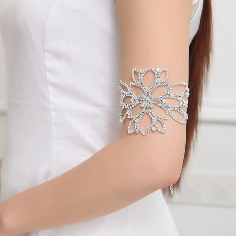 Wedding Bridal Bracelet Crystal Women Flower Arm Harness Slave Chain Cuff Armband Dress Accessories CX17