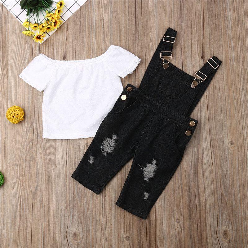 Yaz Çocuk Kız Bebek tulumları Giyim Seti Kapalı Omuz Dantel Jeans Önlüğü Pantolon Kıyafetler Tops