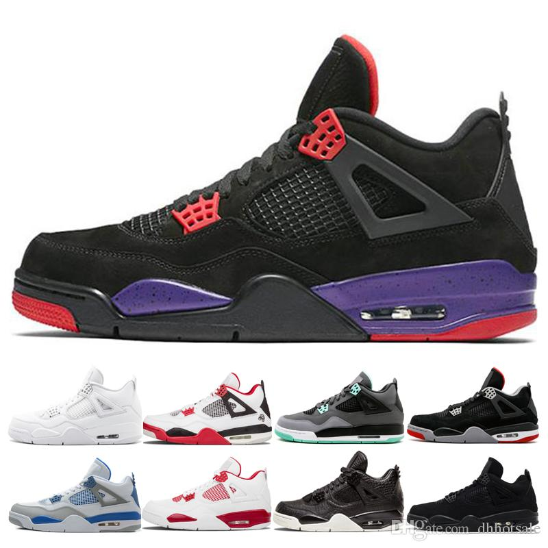 buy online 6ef7c e4d47 Best Quality 4 Raptors Bred White Cement Green Glow Fire Red Basketball  Shoes Men Sneakers 4s Fire Red Pure Money Sports Trainer Shoes