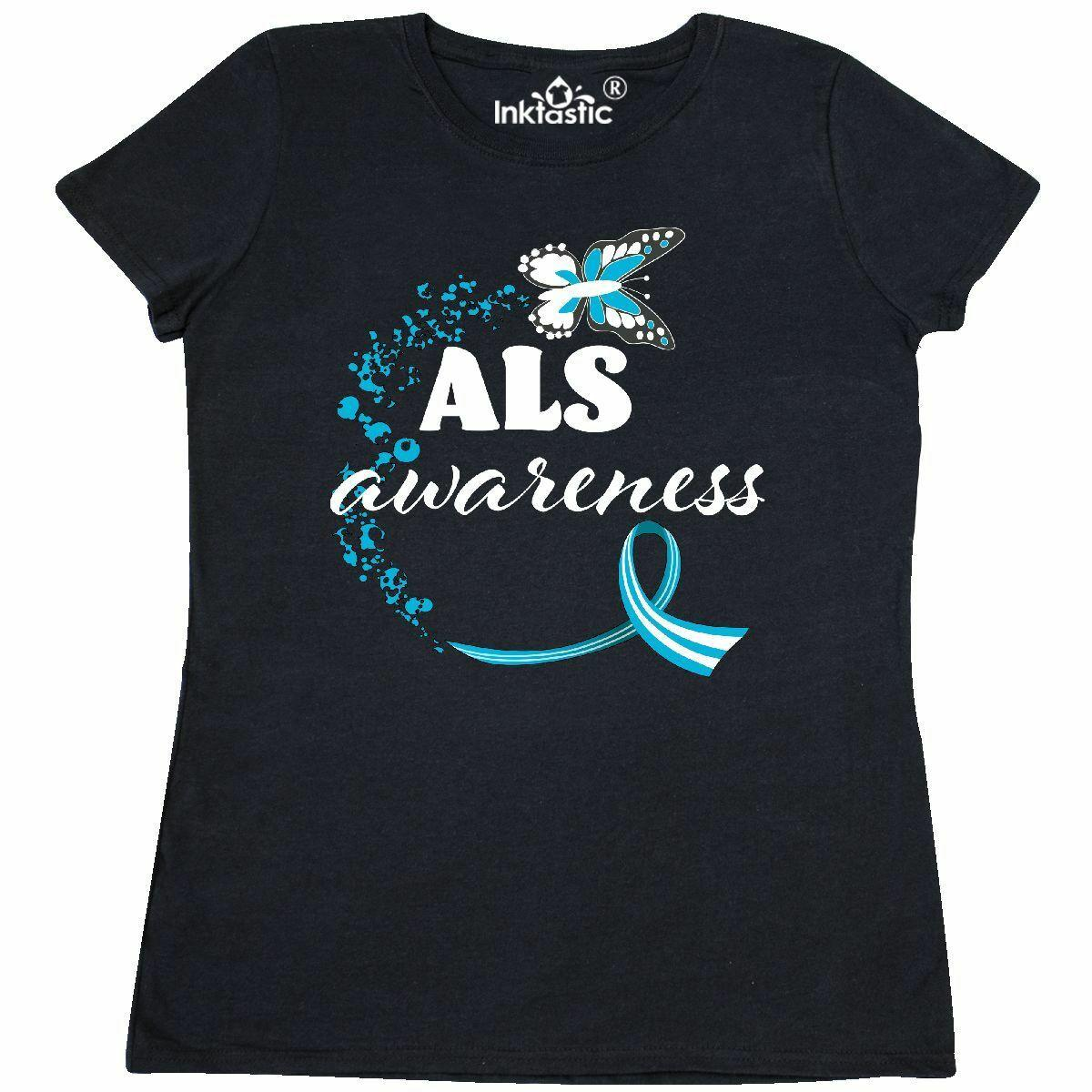 Inktastic ALS Awareness Butterfly Ribbon Women s T-Shirt Hope Support May  Blue Rambo Looking For Troubles Licensed Adult T Shirt