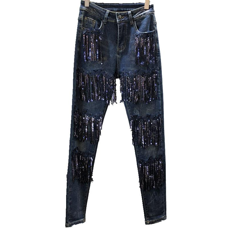 df0df372120 Plus Size 26 32! Women Fashion Pencil Jeans Vintage High Quality Sequined  Tassel Cowboy Denim Pants Stretch Skinny Jeans UK 2019 From Sheju