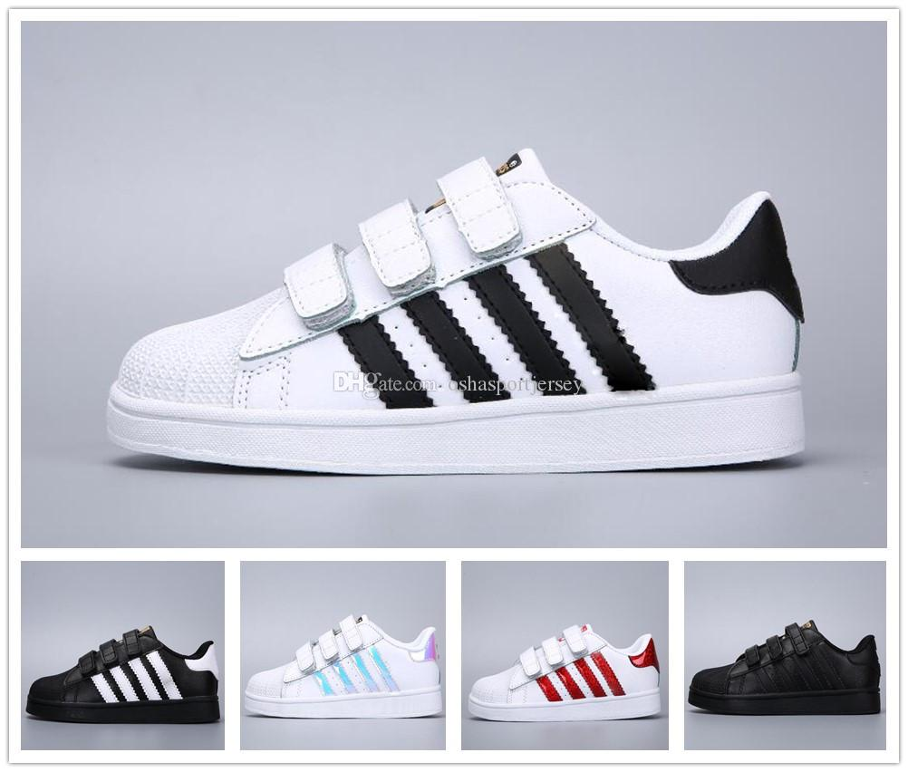 newest e6914 93aa7 Compre Adidas Superstar Smith Allstar 2019 Niños Super Star Holograma Blanco  Iridiscente Junior Niños Superestrellas 80s Orgullo Niños Niñas  Entrenadores ...