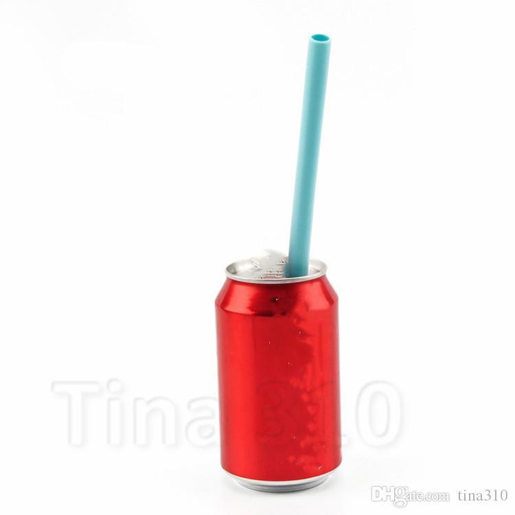 الأزياء الغذاء أنبوب السيليكون عصير الفواكه الحليب teaa والوعاء الشرب سترو كوكتيل أنبوب مستقيم قابلة لإعادة الاستخدام سترو يمكن 1lot = T2I51051