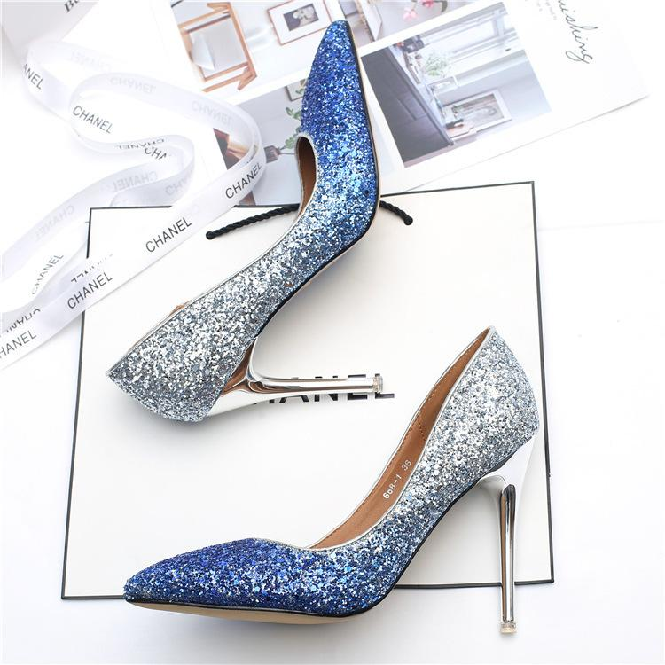a5cb9654d45 Dress Gradient Sequins High Heel Stiletto Pointed Silver Single Shoes  Crystal Bridesmaid Bridal Women Wedding Shoes Female Gold Heels Mens Dress  Boots Men ...