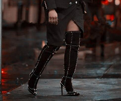 Sexy Women Gold Rivets Motorcycle Boots Thigh High Long Boots Woman High Heel Black Deep Blue Wine Red Over The Knee Boots Woman