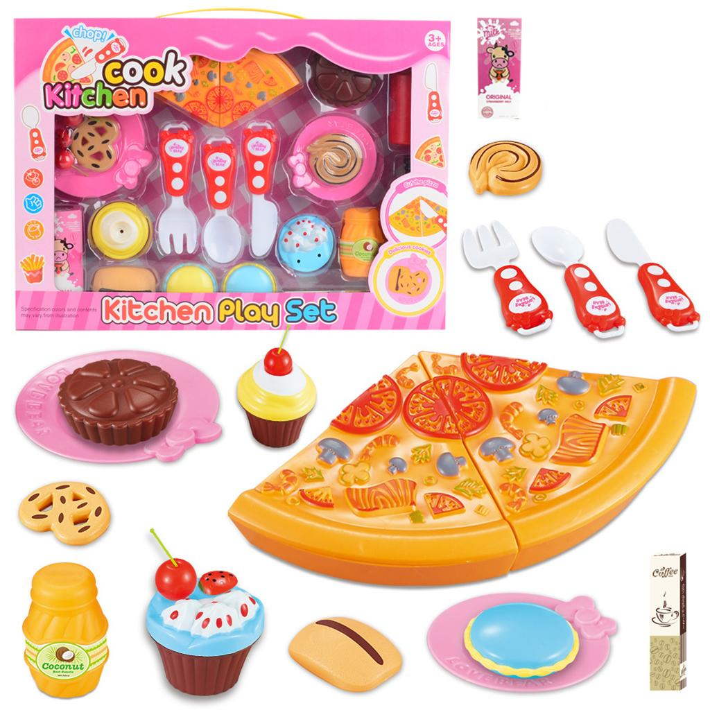 Pretend Play Kitchen Toys 24pcs Simulation Foods Set Fruit Vegetable Pizza Kids Kitchen Pretend Play Toys For Children Cooking Accessories For Dolls