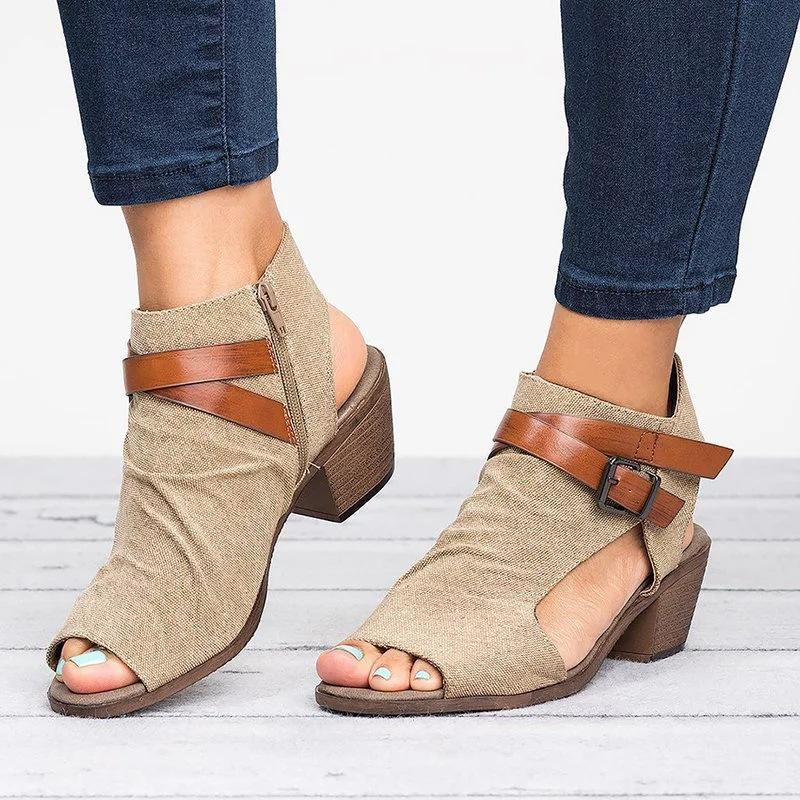 12cac5610c66 Women Sandals Summer Mid Heels Peep Toe Ladies Shoes Buckle Strap Gladiator  Sandals Plus Size Sandalias Mujer Zapatos Birkenstock Sandals Shoes For  Women ...