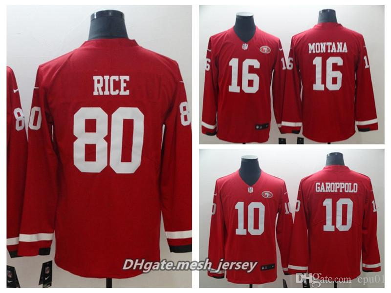 30622f1c9 2019 Men Women San Francisco 49ers 16 Joe Montana Jersey 80 Jerry Rice 10  Jimmy Garoppolo Therma American Football Long Sleeve Jersey From  Colorful sun