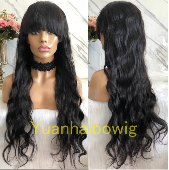 Natural Color Glueless Front Closure Wig with Bang Indian Hair Ombre #1b/4 Dark Roots Glueless Full Lace Wig with Bang Free Shipping