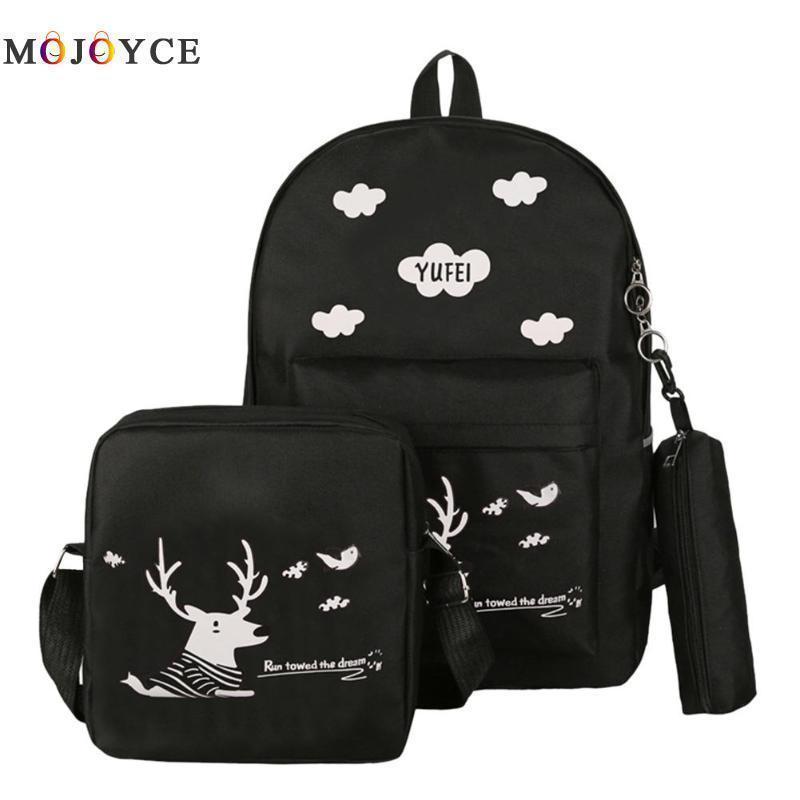 1d256c8ae Cartoon Cute Deer Print Women Canvas Backpacks Teenager Girls Preppy Style  Big Capacity School Bagpack Female Rucksack Mens Backpacks Swiss Army  Backpack ...