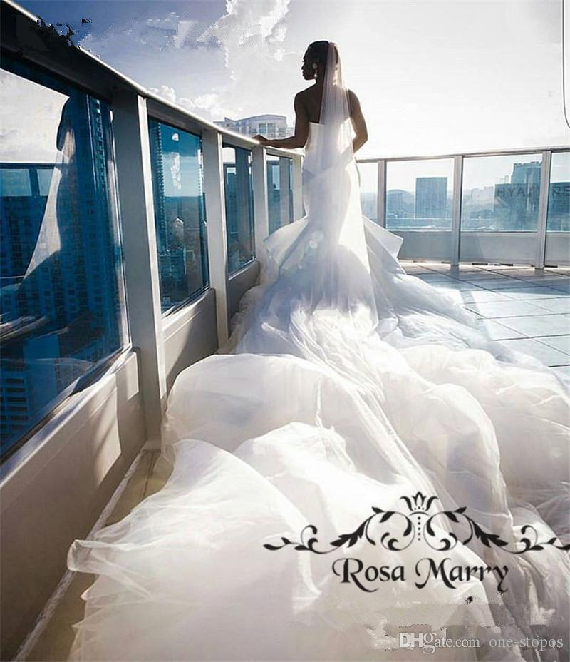 Sexy African Strapless Mermaid Wedding Dress With Court Train Luxury Plus Size Arabic Dubai Bridl Gown Custom Made