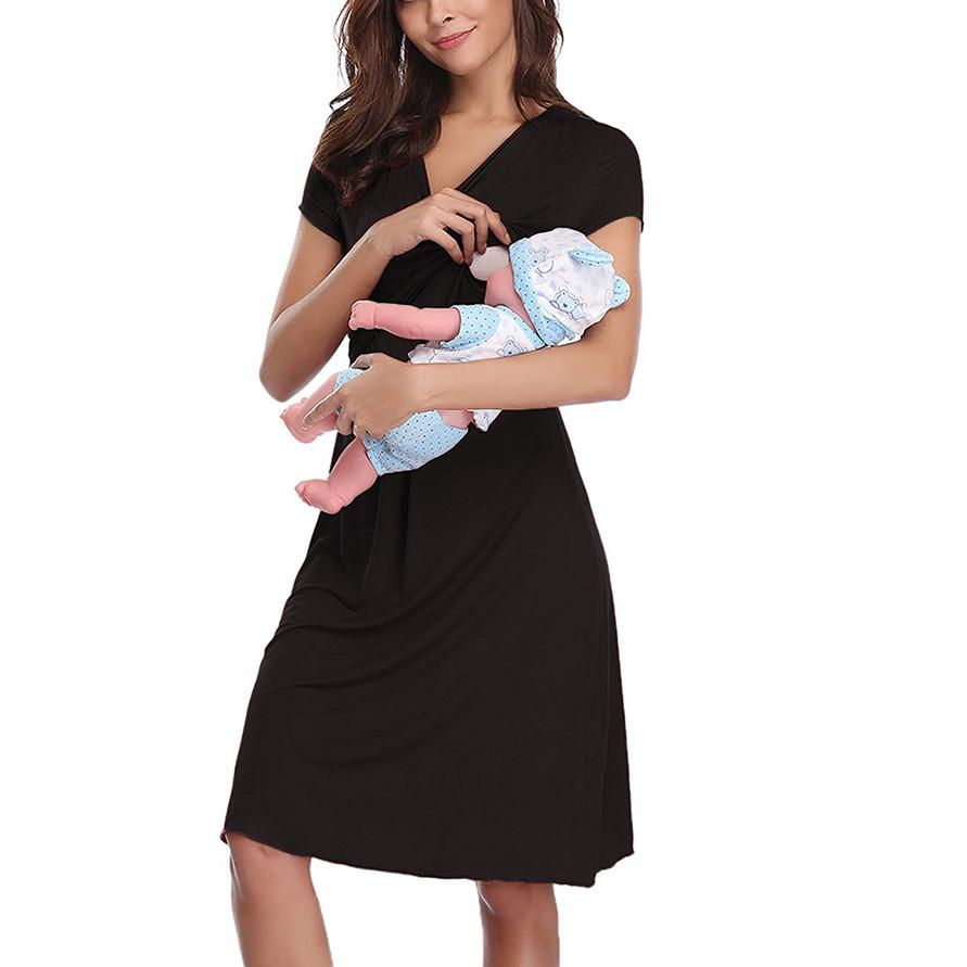 048ace5085c 2019 Maternity Short Sleeve Nursing Baby Breastfeeding Nightdress Pregnancy  Dress Pregnant Blouse Maternity Clothes For Pregnant New From Phononame