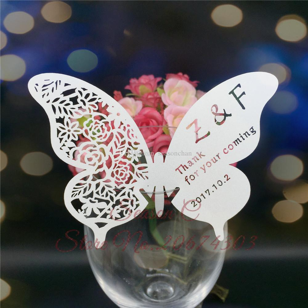60pcs / lot Butterfly Laser Name Place Card Cup Paper Card Table Mark Wine Glass Favores de la boda Decoración del partido Decoración de la boda