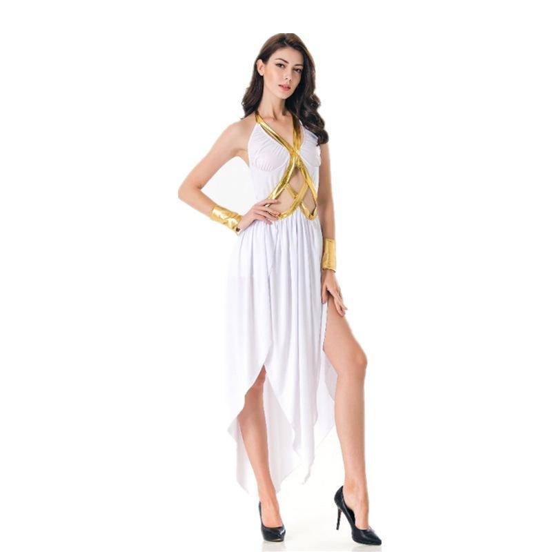 White Gold Greek Goddess Cosplay Women Sexy Ballroom Modern Latin Salsa Swing Stage Dance Show Dancing Wear Dress Clothing Clothes Skirt pt9