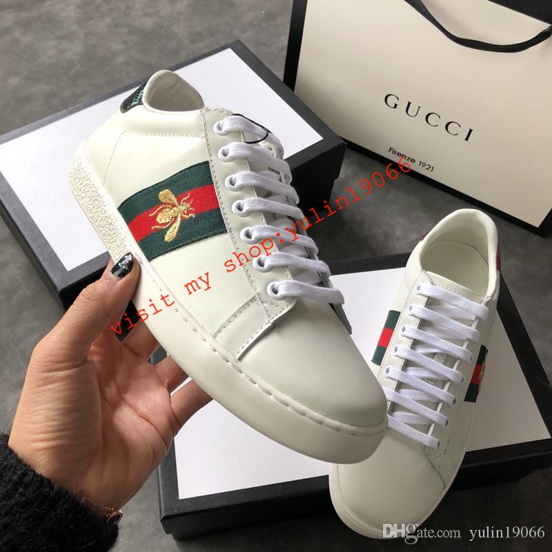 6832a660c7b 2019 Top Boxed Men Or Women G01 Unisex Mens Womens Gucci Bees Ace ...