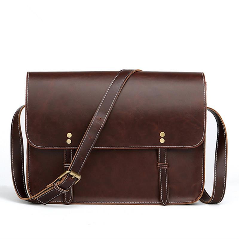 86b3998e2d 2019 Crazy Horse Leather Men s Briefcase Vintage Shoulder Bags ...