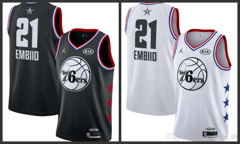 50abd678d5d ... coupon for 2019 2018 19 all star philadelphia men 76ers basketball  jerseys joel embiid black white