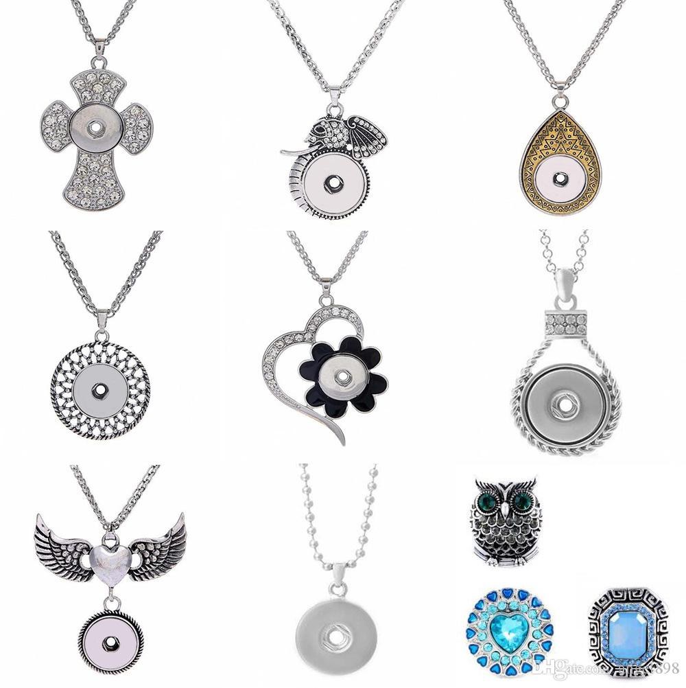 Mixed color wholesale NOOSA Ginger Snap Necklace Button Pendants with Crystal Jewelry Interchangeable Jewerly