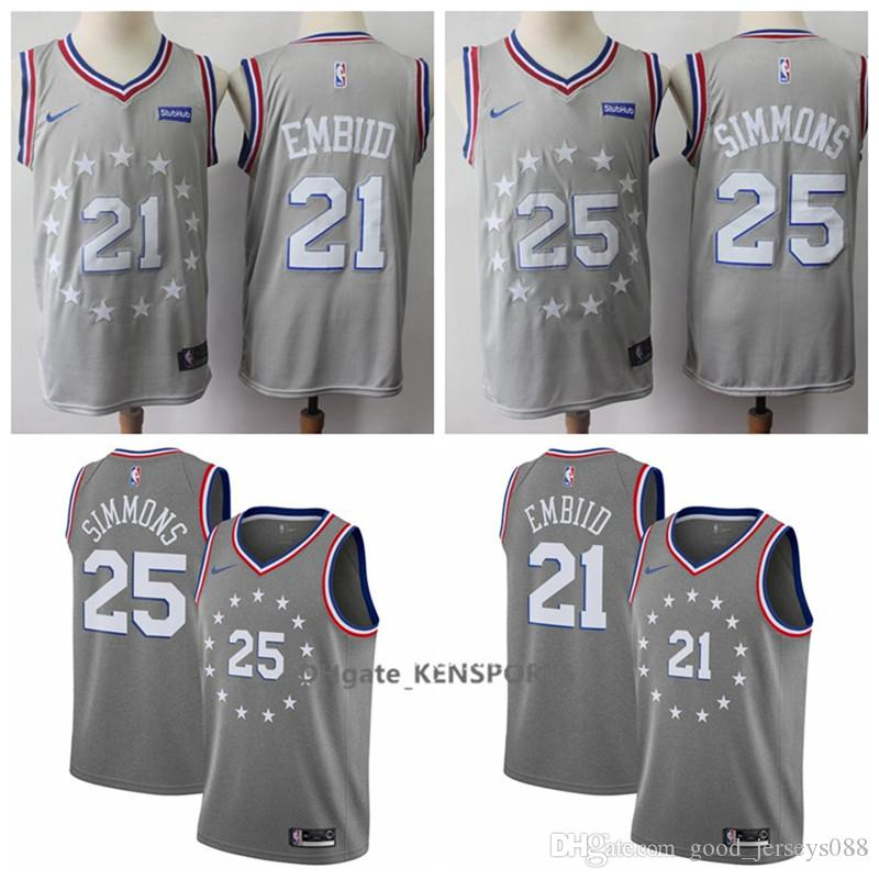 d264faaaf809 2019 2019 Philadelphia City Edition 76ers Jersey 21 Joel Embiid 25 Ben  Simmons 3 Iverson Retro Stitched Basketball Jerseys From Great jersey01
