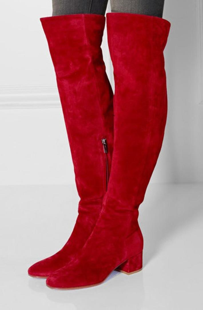 265816697f4b Shoes Woman Heels Suede Block Heel Red Long Boots Round Toe Side Zipper  Over The Knee Boots Celebrity Style Woman Dress Shoes Red Boots High Heel  Boots From ...