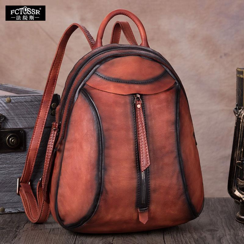 70201b9526da2 New Retro Leather Bag Ladies Handmade Leather Bag First Layer Cow Backpack  Female Shoulder Leisure Travel Backpack Back Packs Rolling Backpacks From  ...