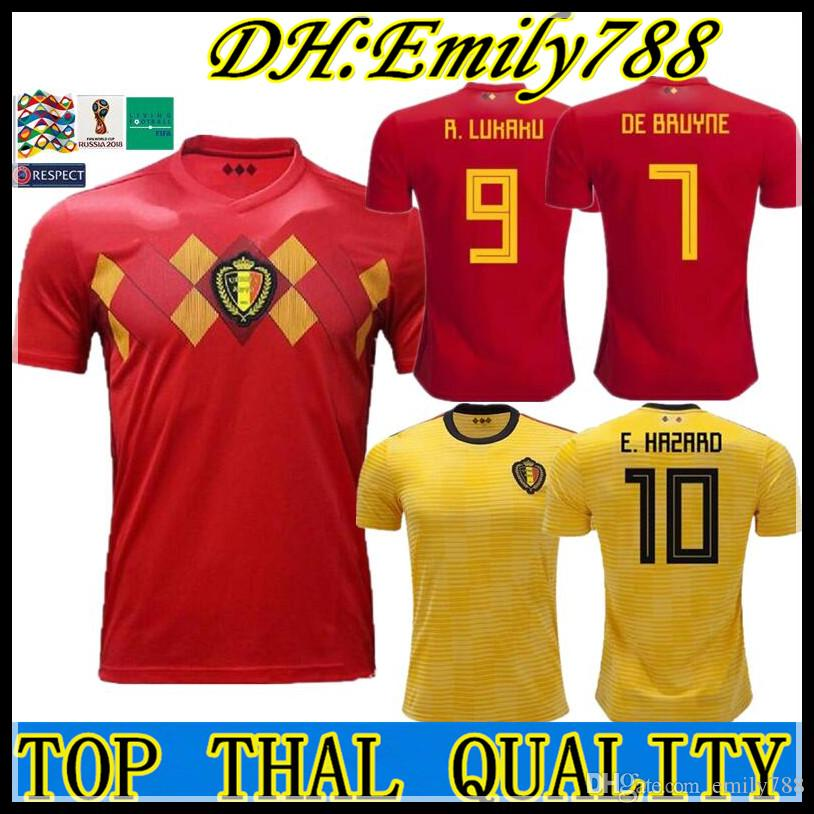 1617078872d World Cup 2018 Belgium Home Away Men's Soccer Jerseys Hazard De Bruyne  Futbol Camisa Belgique Football Camisetas Shirt Kit Maillot