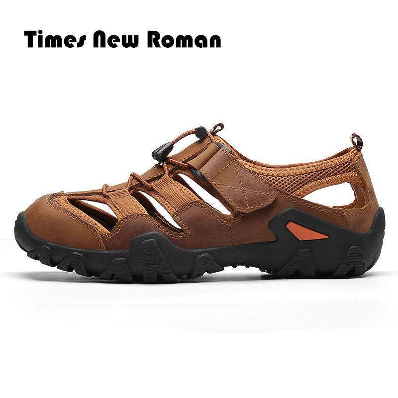 a54c5ab398e50 Times New Roman genuine leather men sandals summer cow leather for beach  male shoes mens gladiator sandal Plus size 39-48