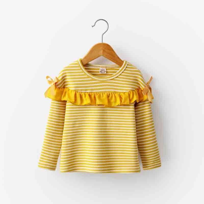good quality baby girl fashion striped bow long sleeve T-shirt 2019 spring autumn new children cotton top fit for 2-7 Years girls