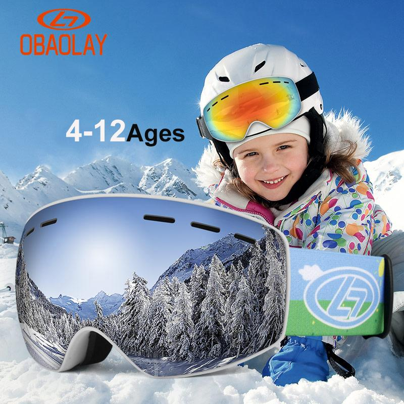 cd2eee13147d 2019 OBAOLAY Kids Ski Snowboard Goggles Anti Fog Big Spherical UV400 Winter  4 12 Ages Child Ski Glasses Snowmobile Goggles Boxed From Stem