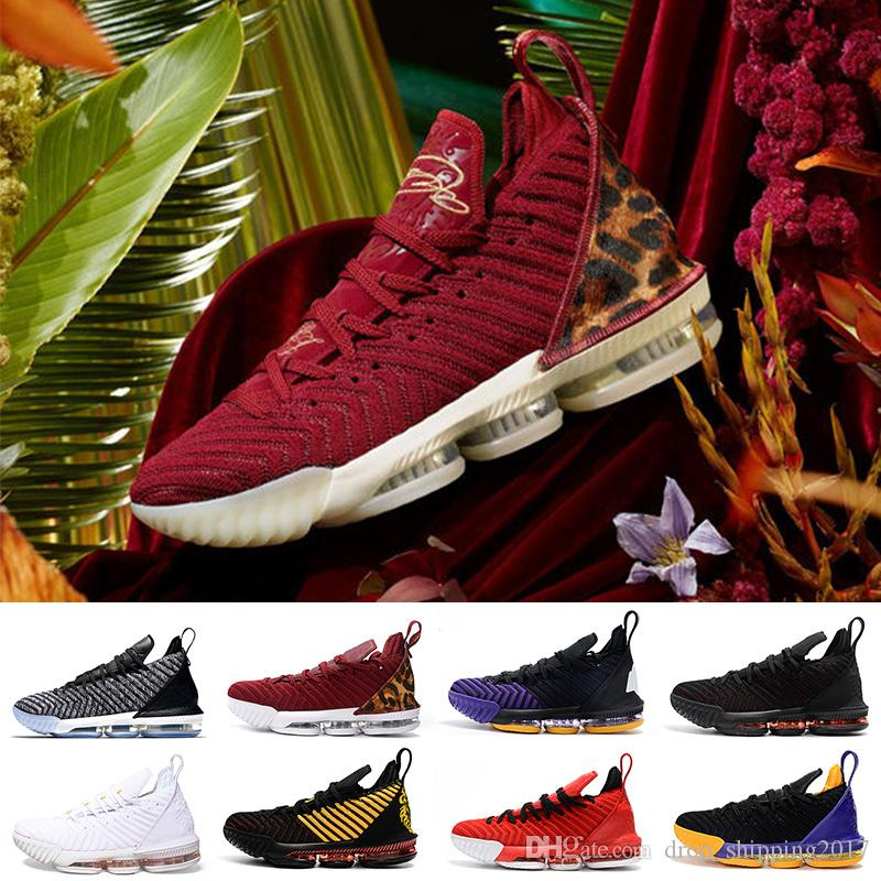 brand new f951d 0ee92 Großhandel NIKE LeBron James 16 King 16s Basketballschuhe Multi Color  Lakers King Court Lila Oreo Frisch Gezüchtet 16 XVI Herren Designer Trainer  Sneakers 7 ...