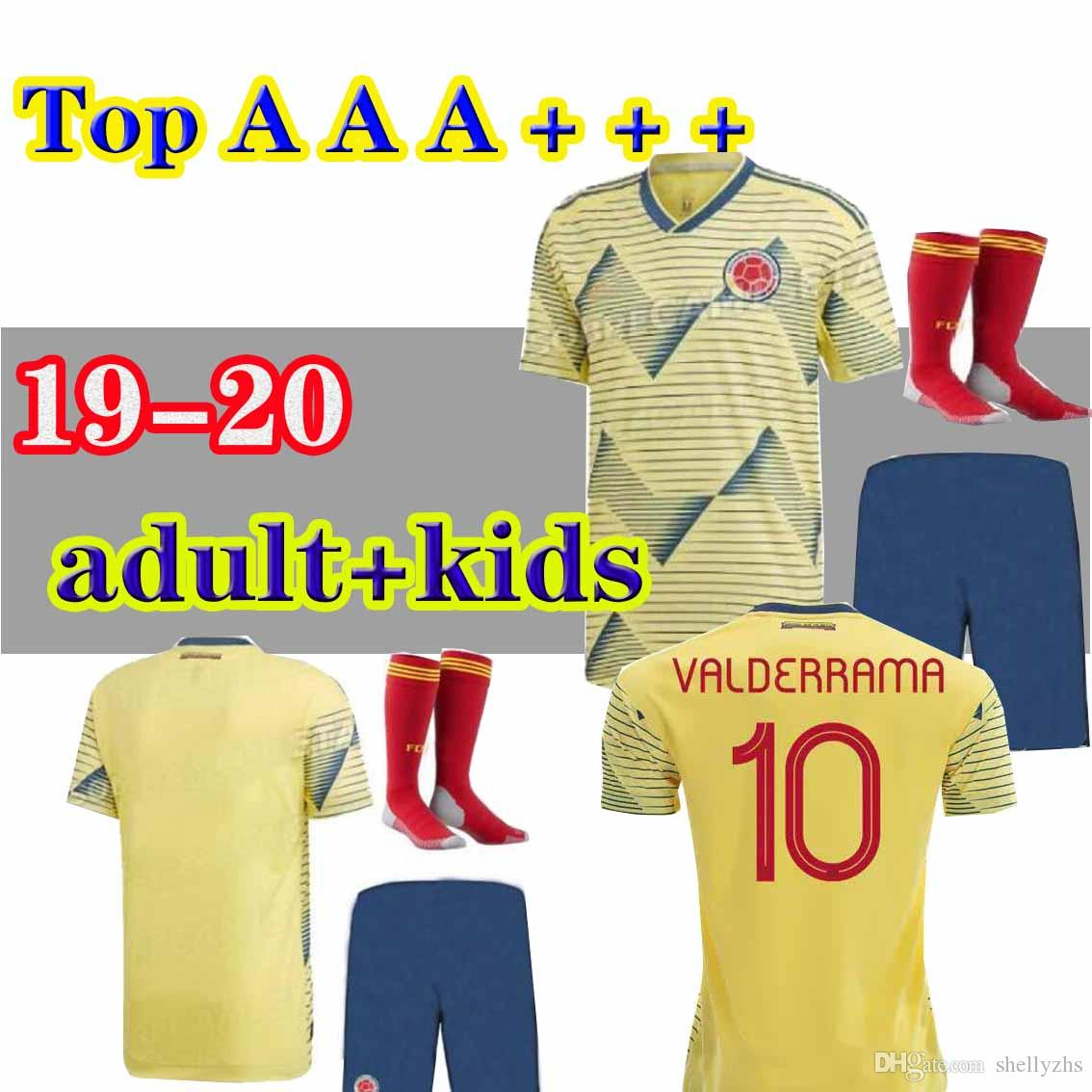 9d8c83b8d Adult kids kit + SOCKS 2019 Colombia Copa America home soccer jersey yellow  james falcao 19 20 camiseta Colombia Sanchez mina MEN SETS footb