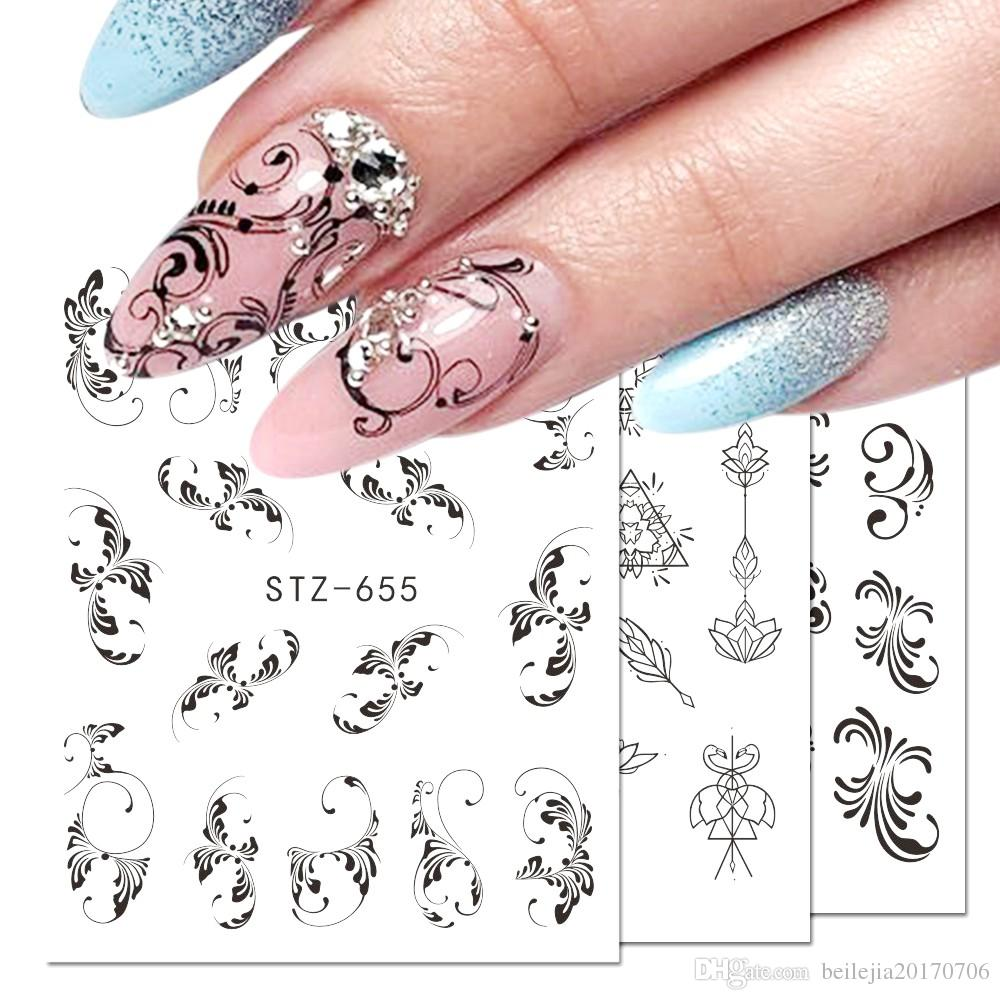 71511e12c1d3 Nail Sticker Flower Flakes Water Transfer Decals Retro Black Hollow Tattoo  Wraps Nail Art Decoration Manicure JISTZ609 658 Nail Brushes Nail  Decorations ...