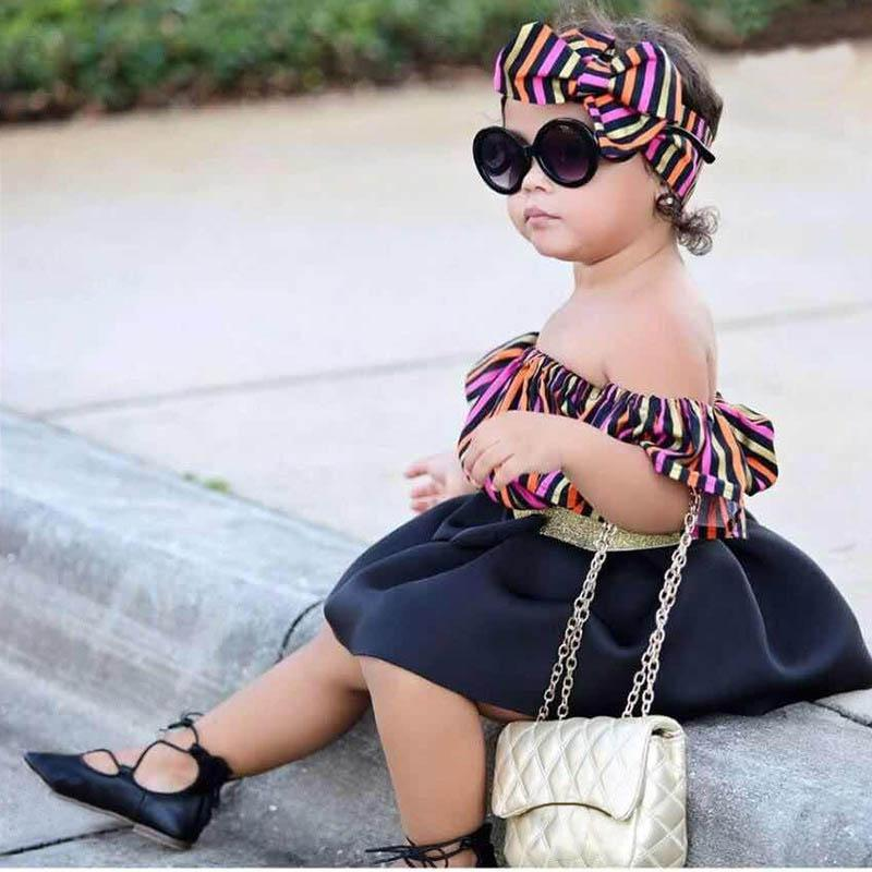 Kids Sets 2019 new Summer Kids Designer Clothes Girls Outfits 3pcs stripe Tops+Bows headbands + Skirts Girls Dress Suits kids clothes A3894